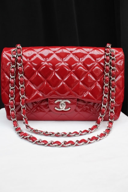 2b287647feac Vintage Chanel From Paris bright red quilted patent leather bag