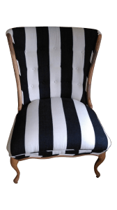 Antiques Diva Styles a Diva Den for Chairish Mid Century Black and white Striped Chair