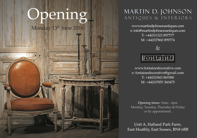The Best Antiques Warehouse in England invitation to opening
