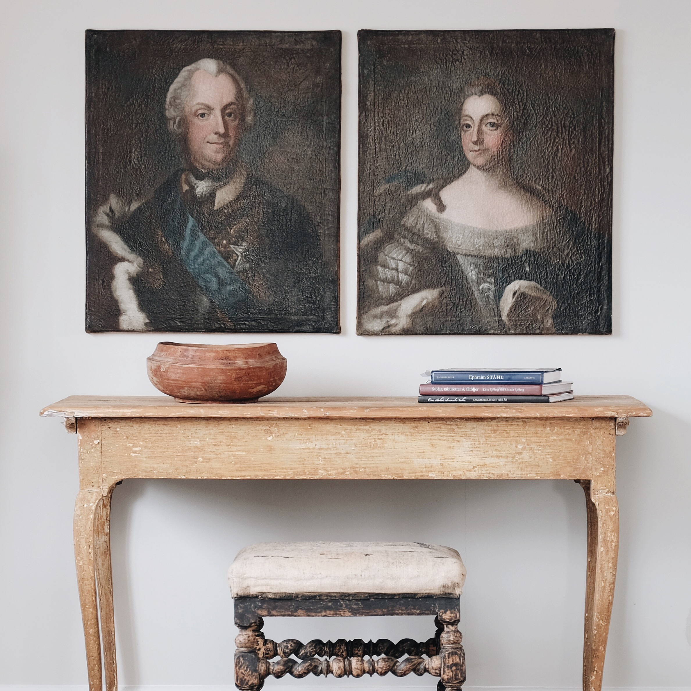 18th Century Swedish portraits and Rococo console on Antiques Diva buying tour
