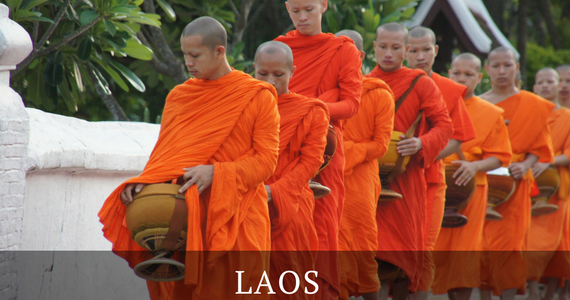 Monks on Alms Rounds Luang Prabang World Heritage Site Laos Antiques Buying Tours with The Antiques Diva & Co