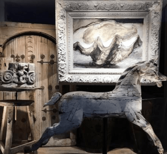 Chris Holmes Antiques - Andalusian door, Chloe Holt painting: 'Benitier' the giant clam