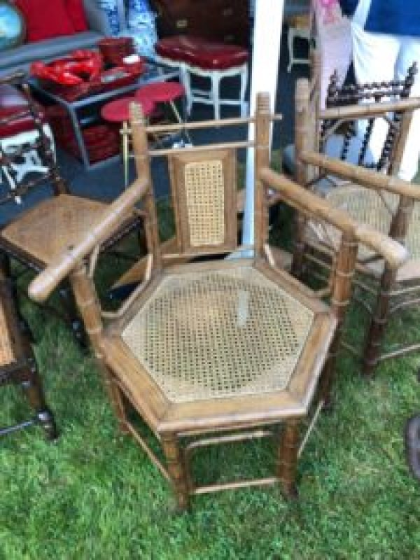 Pair of Hexagonal Bamboo Chairs from Jed Antiques in Sag Harbor
