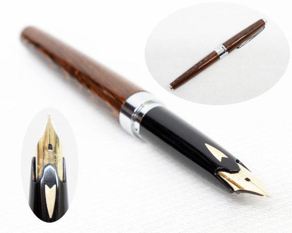 ペン先18K セーラー JIS刻印 木軸万年筆 銘木シリーズ 軸材鉄刀木