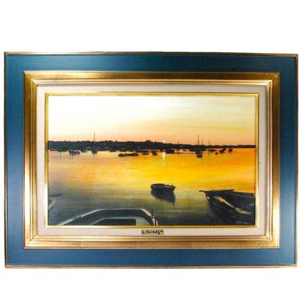島津豪亮 「朝焼けの海」 油彩 M10号 リアリズム
