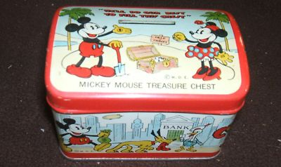 1935 Vintage Mickey Mouse Treasure Chest Bank Safe Co