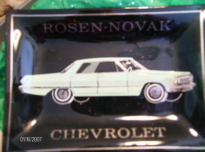Rosennovak Chevrolet Glass Ash Tray Vintage Ec