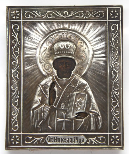 Russian Orthodox Icon Saint Nicholas silver