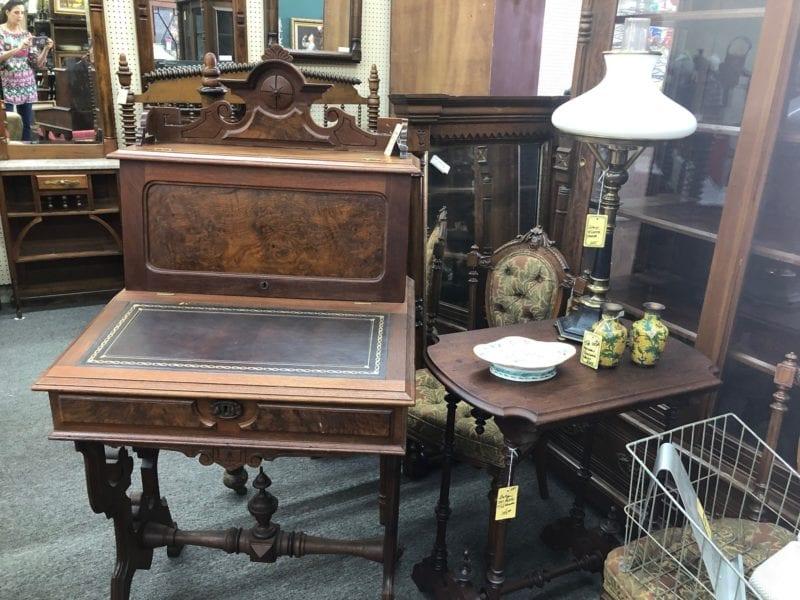 Antique Burled Walnut Writing Desk