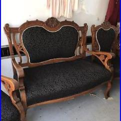 Eastlake Victorian Parlor Chairs Blue Velvet Arm 3 Pic Set East Lake Matching Rocking Chair Sofa And