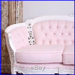 french linen tufted sofa timothy oulton bed shabby cottage chic fancy pink settee vintage style