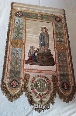 A Fine Antique French Silk Embroidery Processional Banner