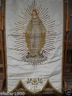 arts and crafts style chair round oversized antique banner blessed virgin mary raised embroidery gold stumpwork silk moire