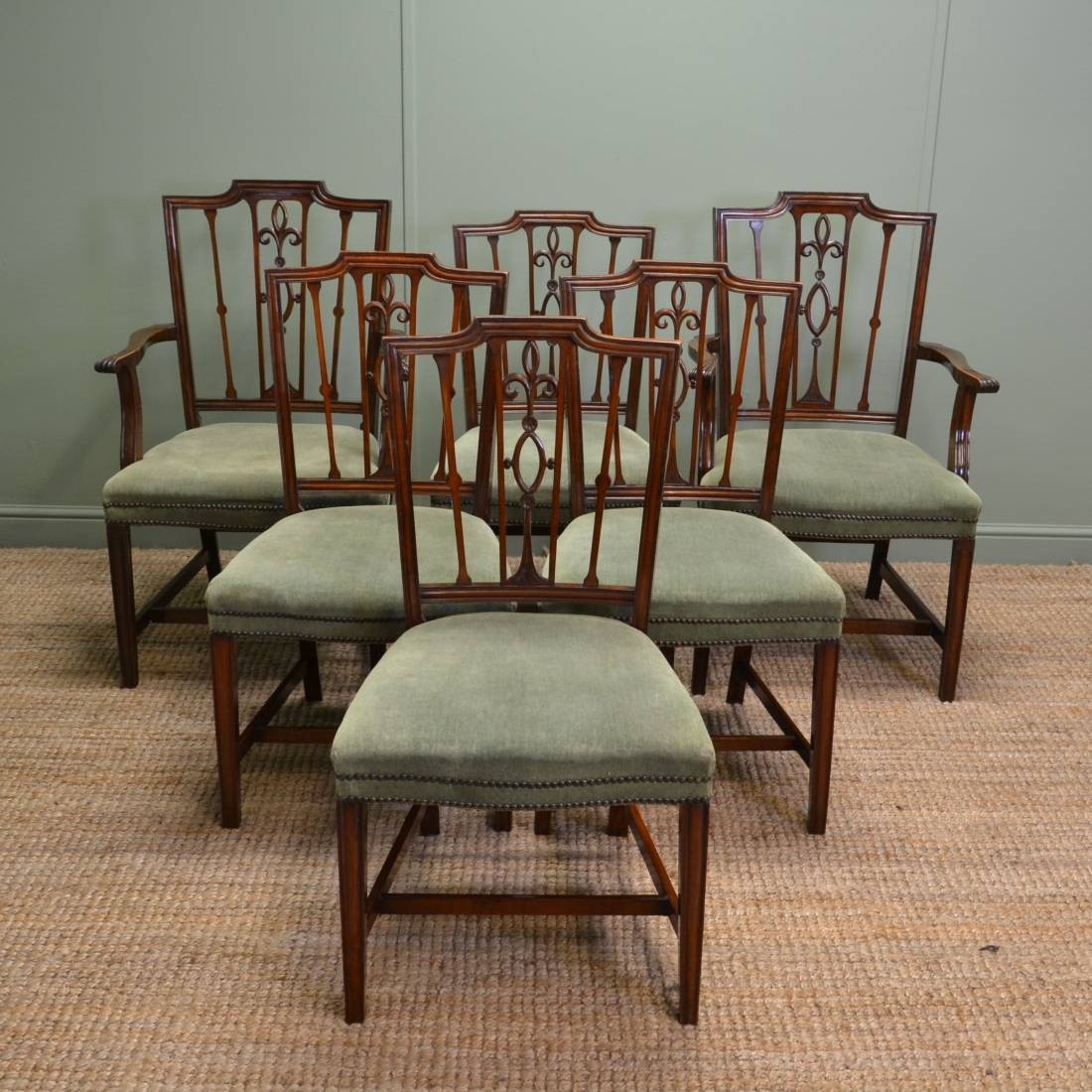 Vintage Chairs Set Of Six Edwardian Mahogany Antique Dining Chairs