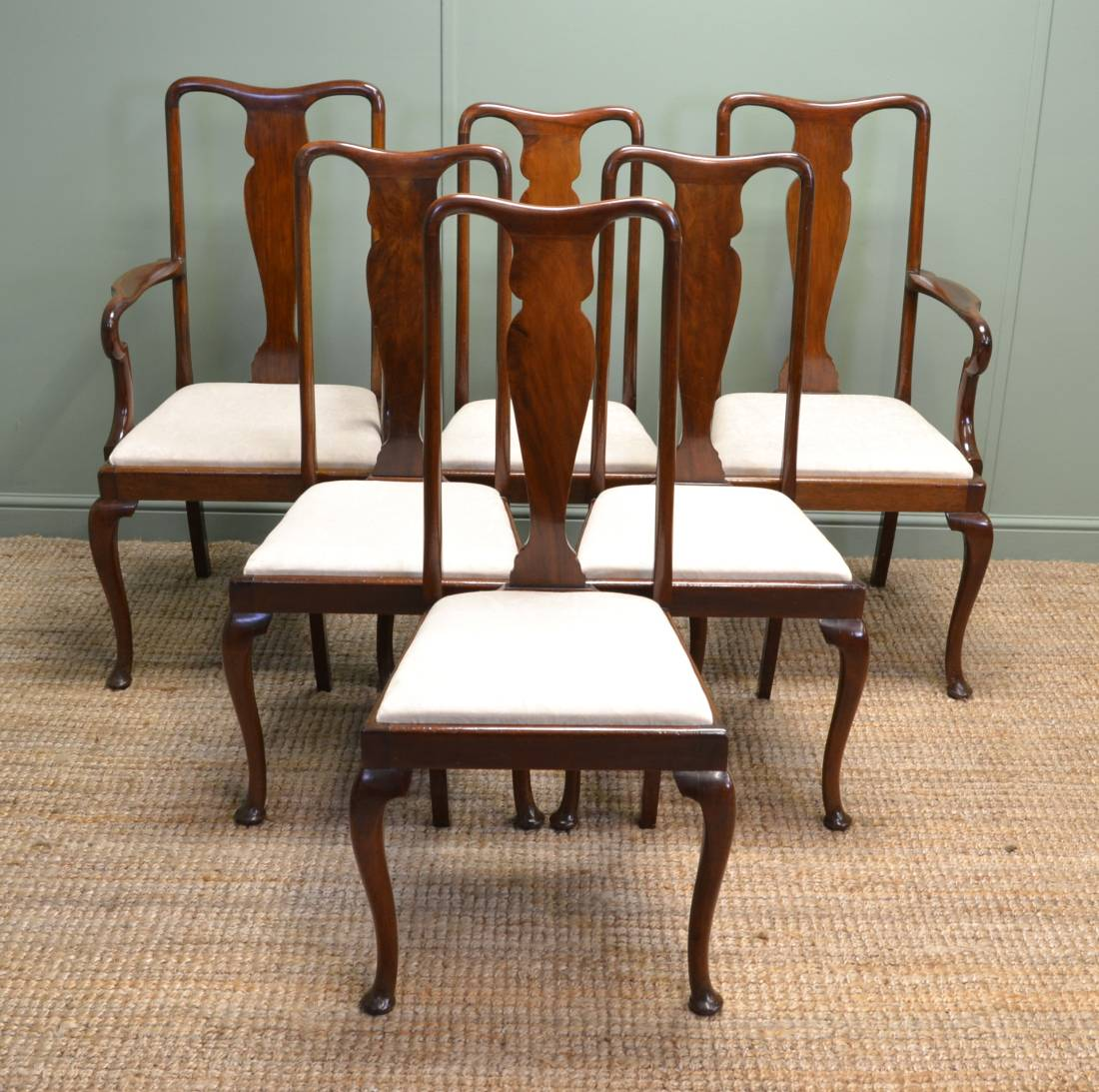 Vintage Chairs Fine Quality Set Of Six Antique Mahogany Edwardian