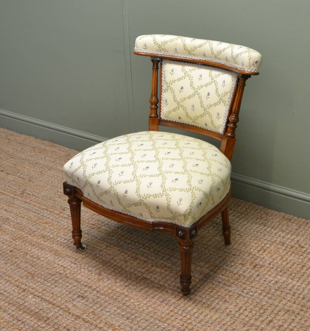 Vintage Chairs Quality Victorian Walnut Small Upholstered Antique Chair