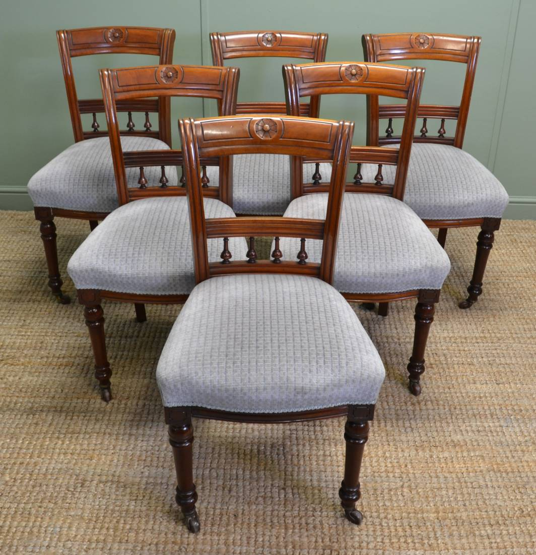 Vintage Chairs Set Of Six Victorian Walnut Antique Dining Chairs