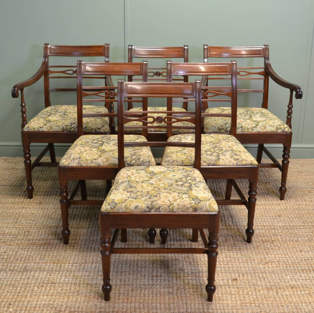 Vintage Dining Chair Set Of Six Regency Mahogany Antique Dining Chairs