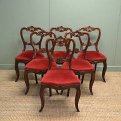 Chair With Balloons Barber Hydraulic Repair Six Antique Victorian Mahogany Carved Balloon Back Chairs