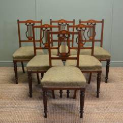 Set Of Chairs Accent Rocking 6 Inlaid Antique Edwardian Mahogany Dining