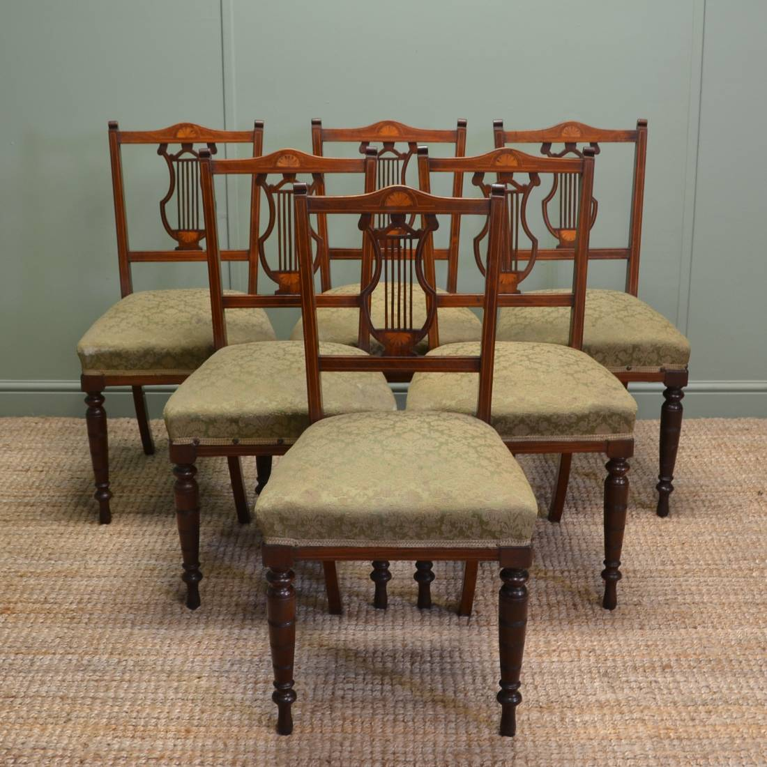 Dining Chairs Set Of 6 Set Of 6 Inlaid Antique Edwardian Mahogany Dining Chairs
