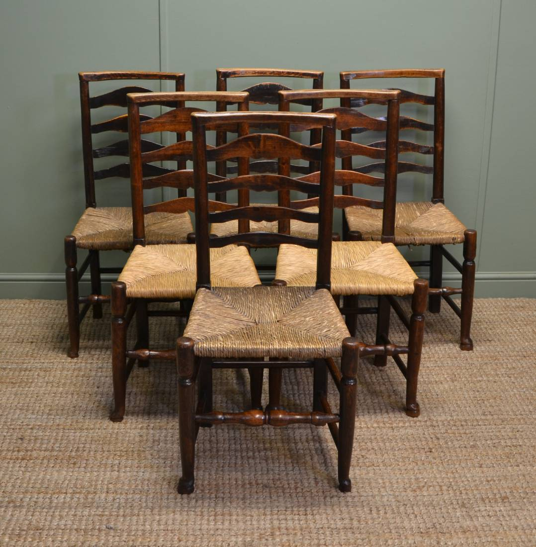 ladder back chair jazzy power battery replacement set of six georgian country oak harlequin antique