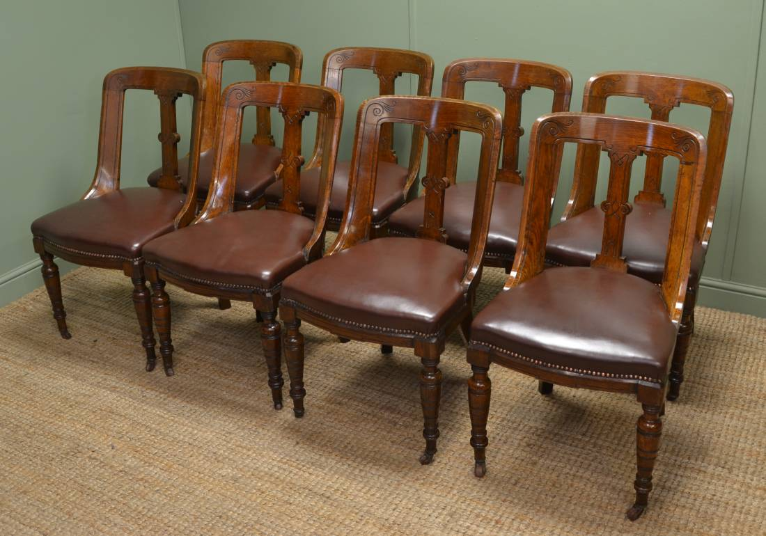 Unusual Chairs Unusual Set Of Eight Solid Oak Victorian Spoon Back Chairs