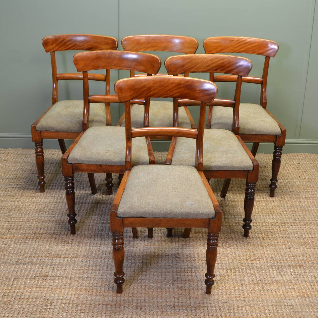 Unusual Chairs Unusual Set Of Six Country Satin Birch Victorian Dining