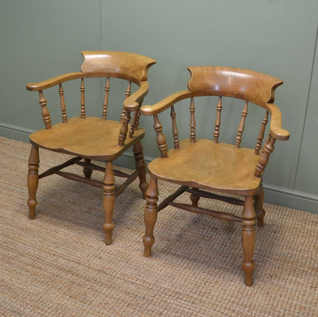Antique Chair Pair Of Victorian Country Elm Antique Smokers Bow Chairs