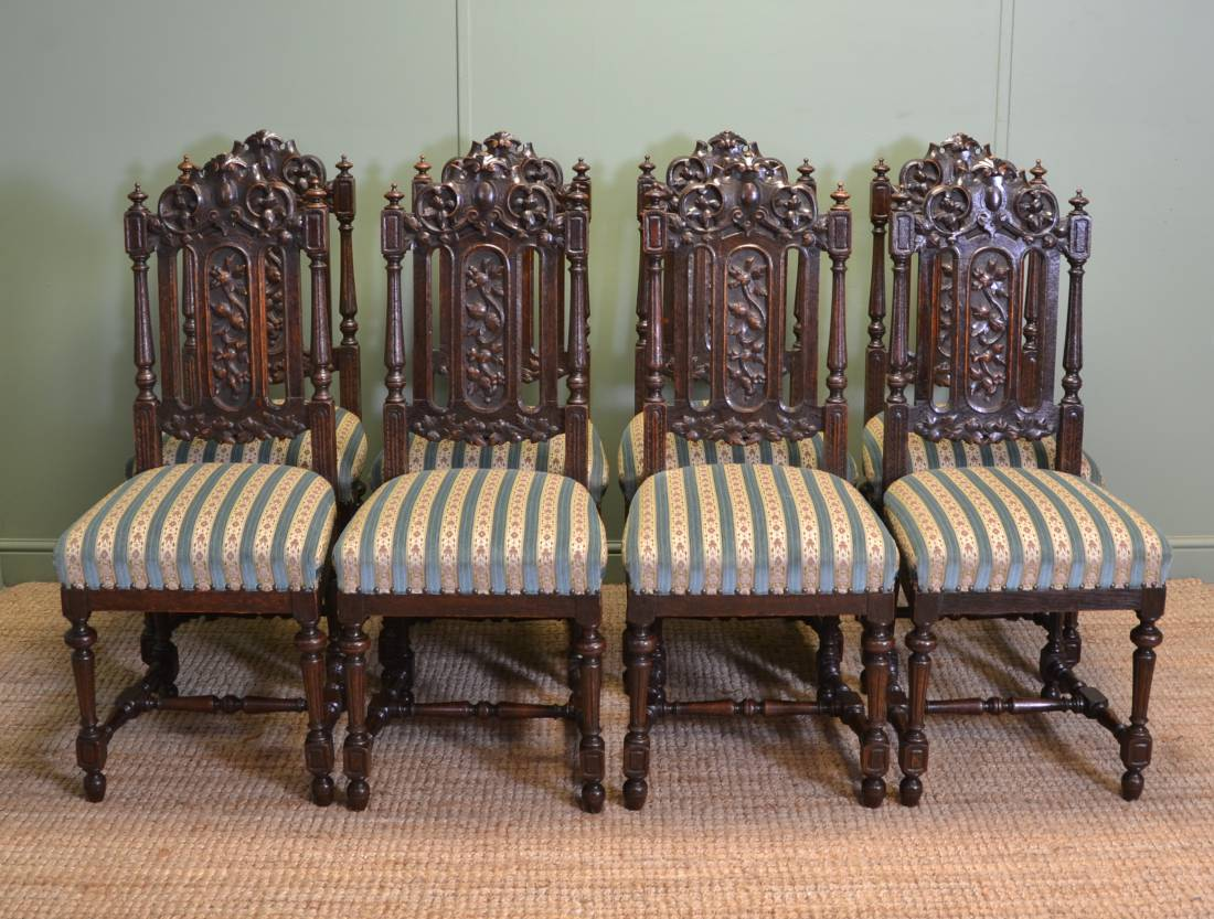 Vintage Dining Chair Beautiful Set Of Eight Quality Victorian Carved Oak High