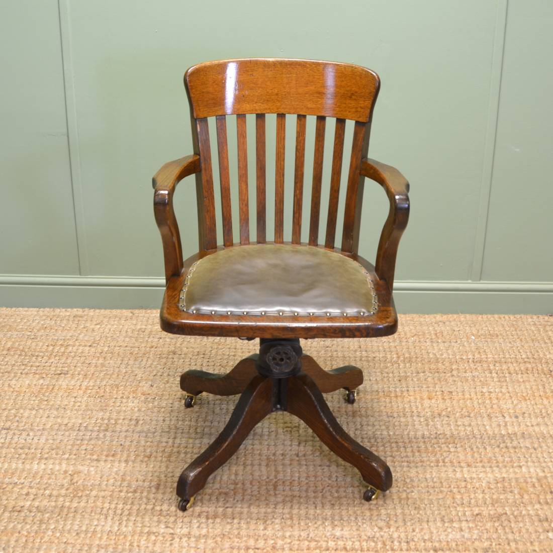 Vintage Chairs Quality Edwardian Oak Antique Swivel Office Chair