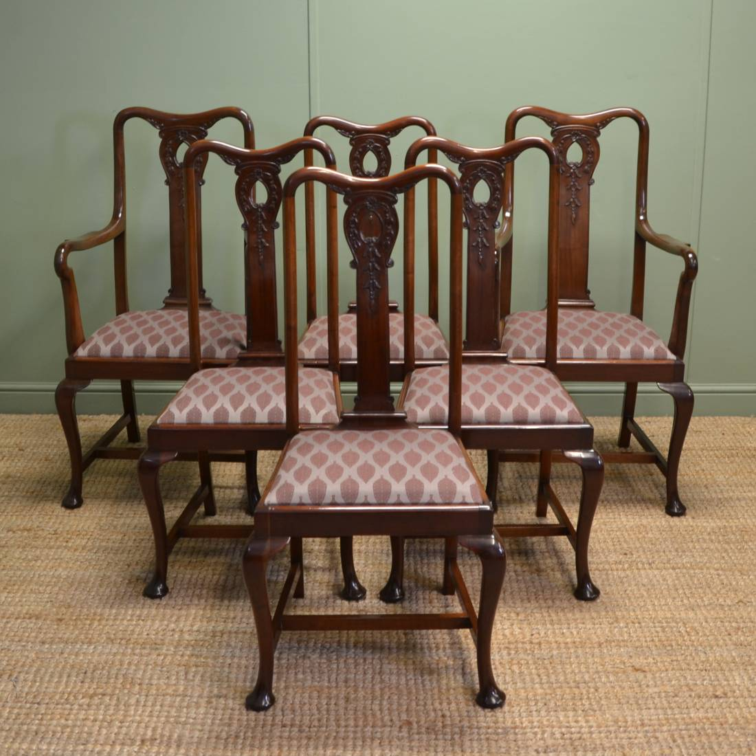Vintage Dining Chair Stunning Set Of Six Solid Mahogany Antique Edwardian