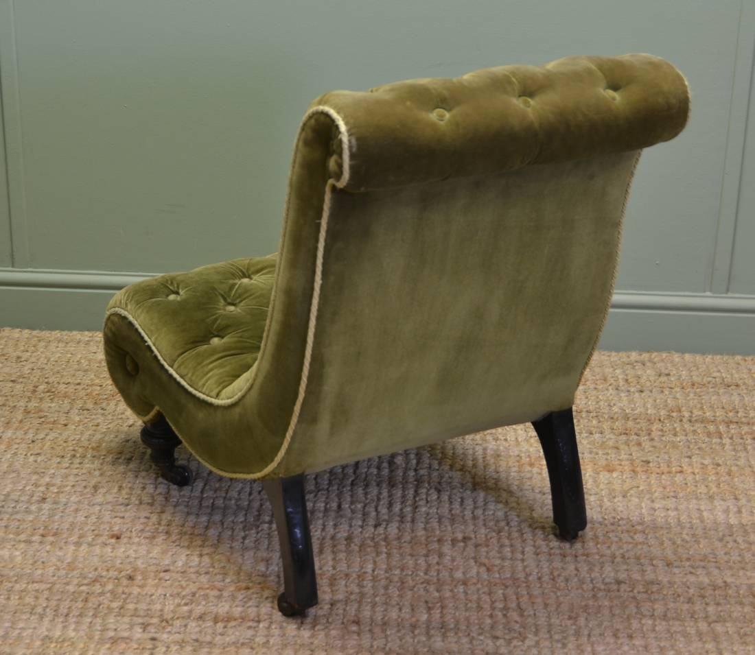 upholstered slipper chair bedroom lounge unusual victorian antique / side - antiques world