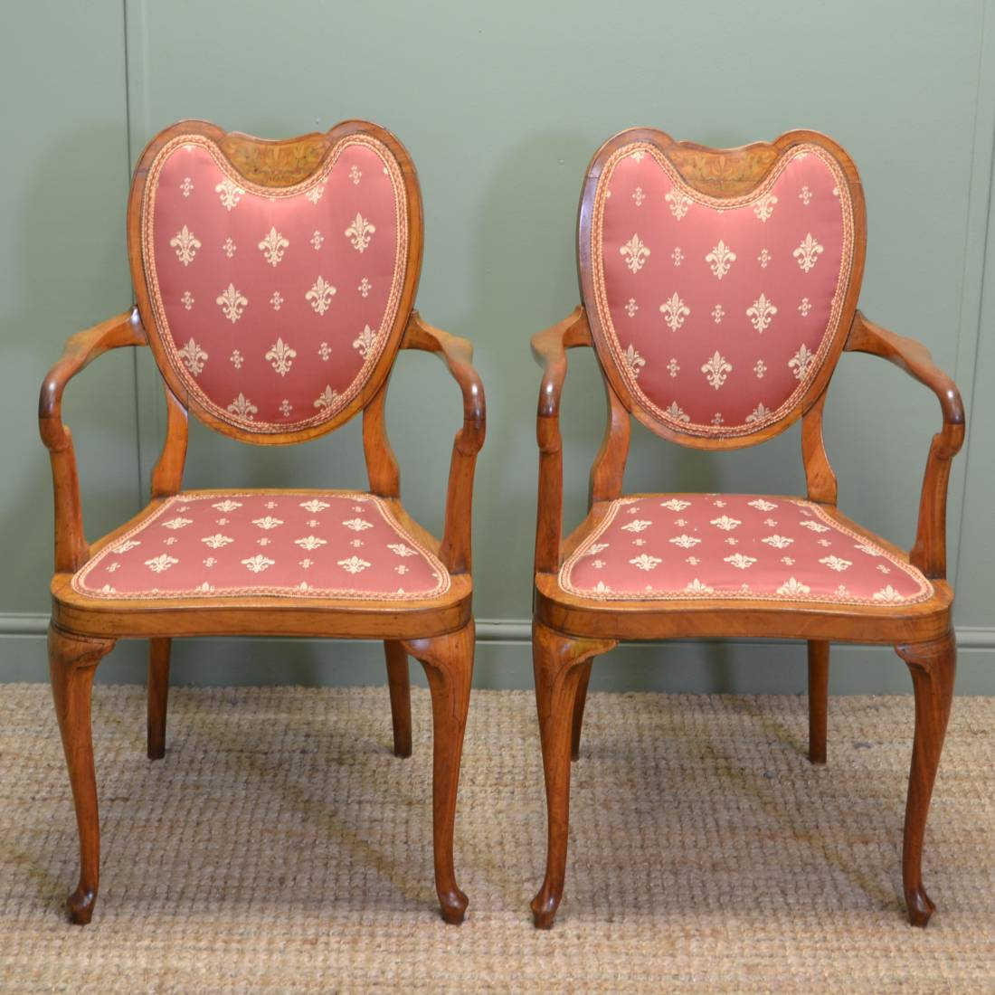 unusual chair company chichester dining seat covers dunelm pair of antique elegant inlaid satinwood victorian