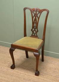 Set Of Six Chippendale Design Antique Dining Chairs ...