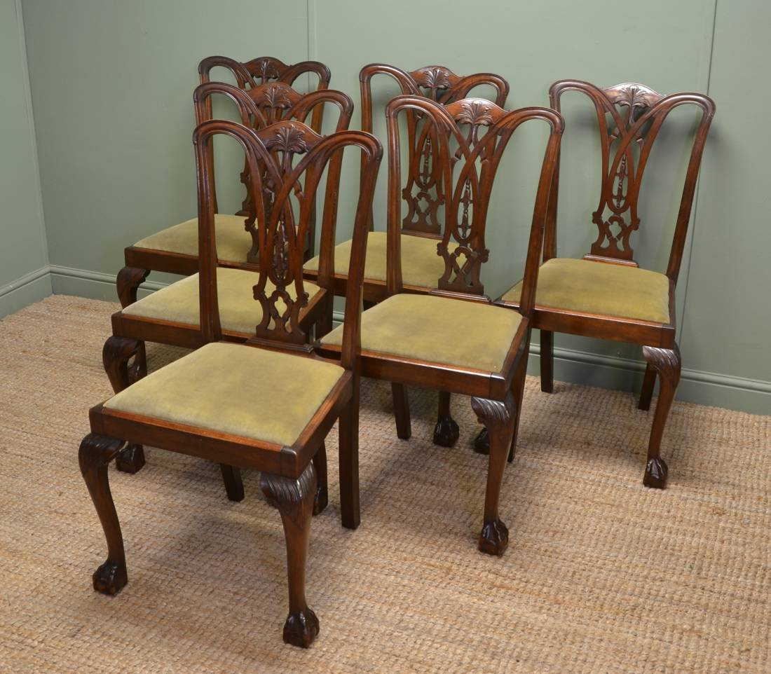 Vintage Dining Chair Set Of Six Chippendale Design Antique Dining Chairs
