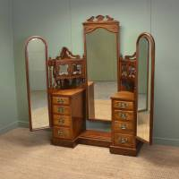 Large Edwardian Figured Walnut Antique Dressing Table ...