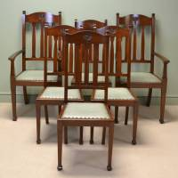 Spectacular Quality Set Of Six Walnut Arts And Crafts ...