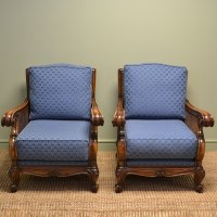 Pair of Matching Edwardian Walnut Antique Bergere Arm ...