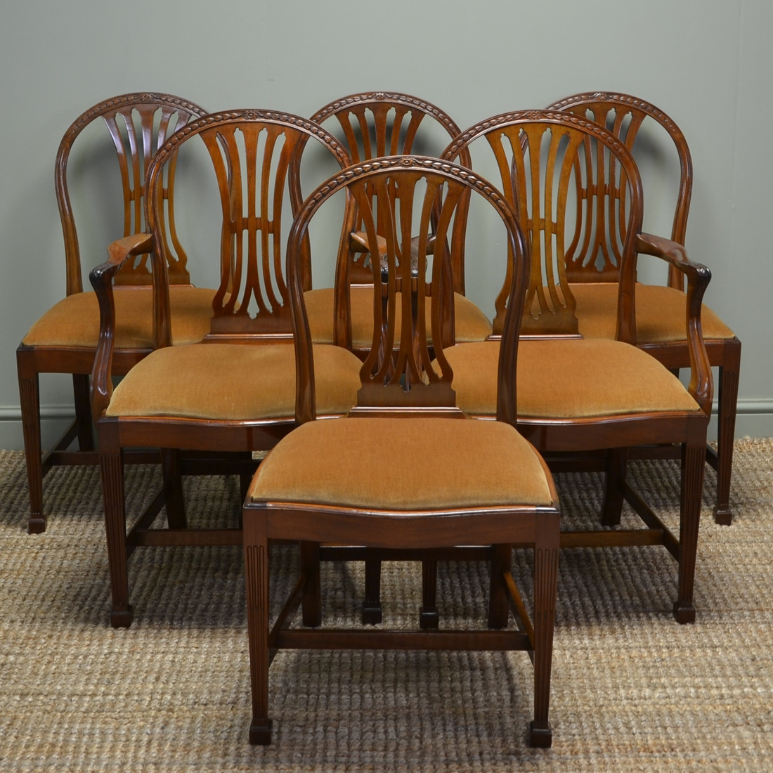 Vintage Dining Chair Quality Set Of Six Hepplewhite Design Edwardian Walnut