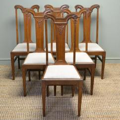 Antique Oak Dining Chairs Party City Chair Covers High Quality Set Of Six Arts And Crafts Victorian Golden