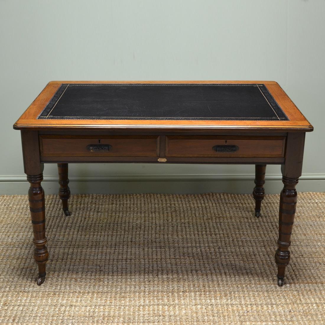 Unusual Victorian Oak and Walnut Writing Desk by Simpoles