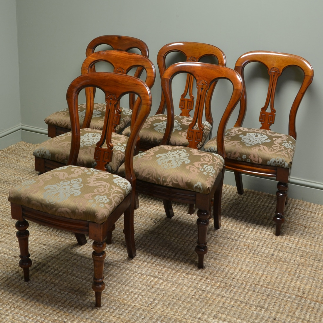 Vintage Chairs Set Of Six Victorian Mahogany Antique Dining Chairs