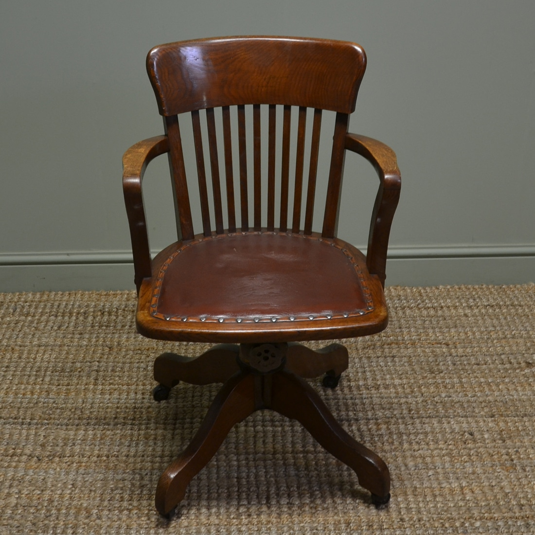 Vintage Swivel Chair Quality Edwardian Antique Oak Swivel Office Chair