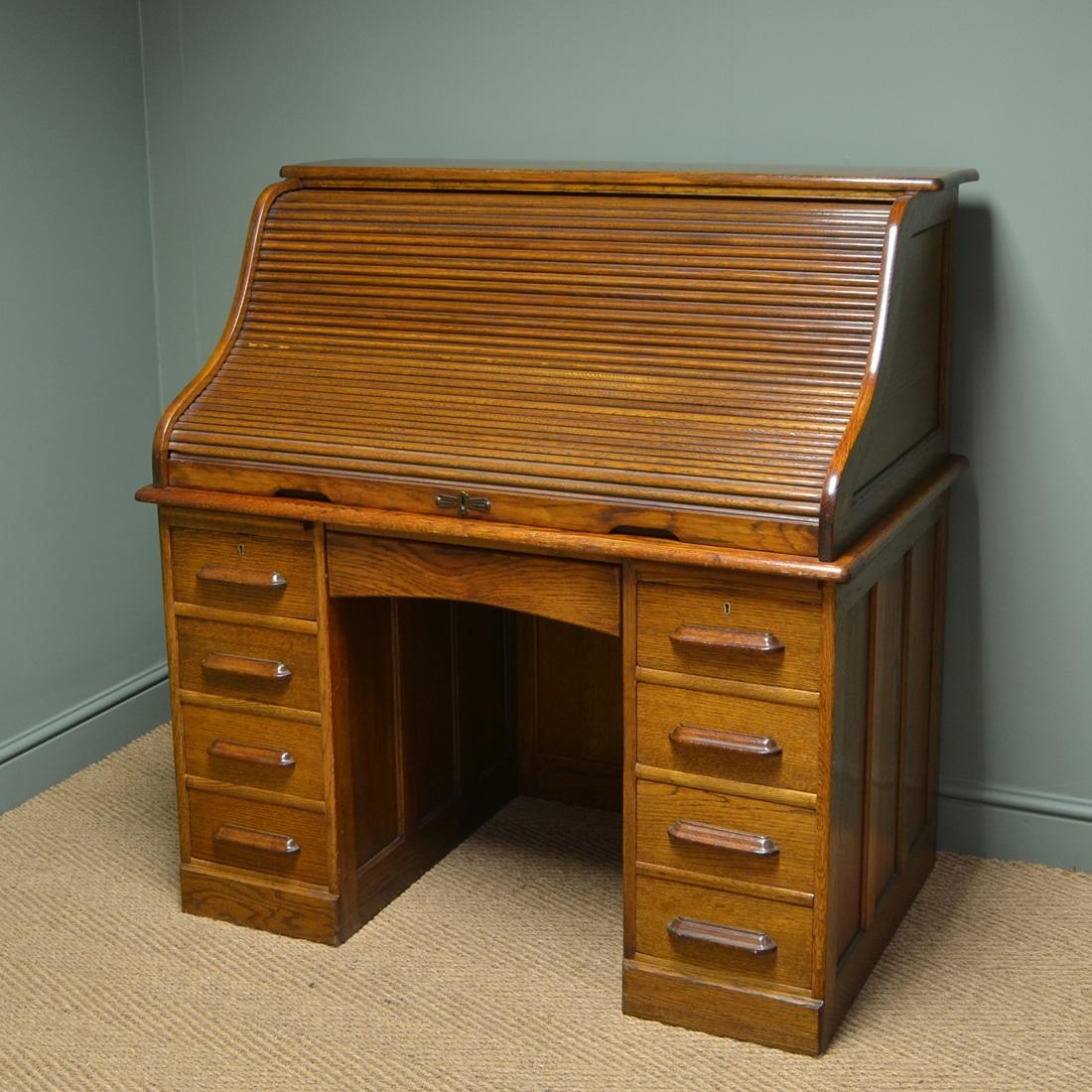 Large Edwardian Oak Antique Roll Top Desk  Antiques World
