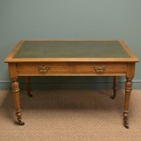 Superb Quality Victorian Golden Oak Antique Writing Table ...