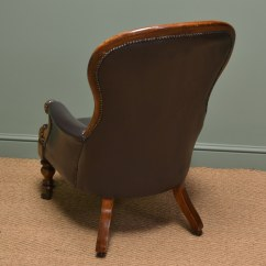 Vintage Arm Chair Leveraged Freedom Magnificent Victorian Mahogany Leather Button Back