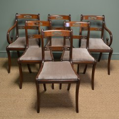 Dining Chairs Uk Best Buy Desk Elegant Regency Design Mahogany Double Sabre Leg Set Of 6