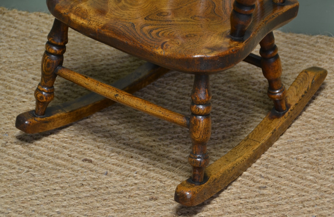 baby height chair accent sets georgian oak and elm windsor rocking - antiques world