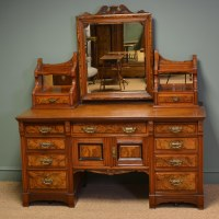 Large Figured Walnut Victorian Antique Dressing Table ...